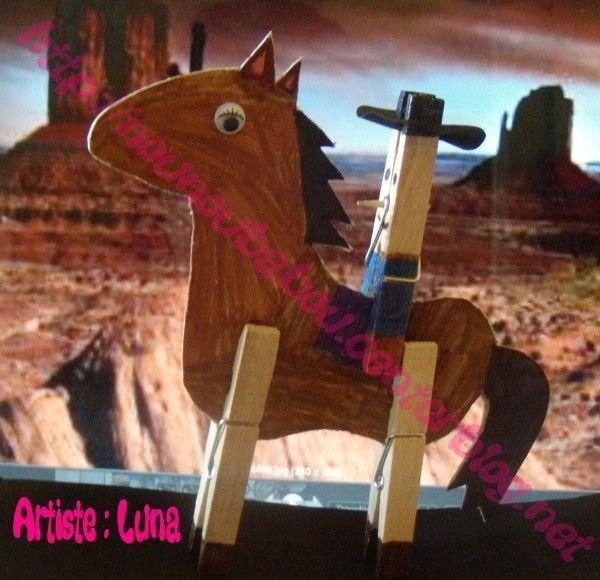 Un cow boy et son cheval - Activite pince a linge maternelle ...